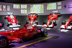 MARANELLO, ITALY - March, 2017. Ferrari Museum exhibition. MARANELLO, ITALY - March, 2017. Ferrari Museum exhibit sport cars, race cars and formula 1 monoposts Stock Photos