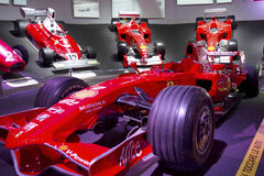 MARANELLO, ITALY - March, 2017. Ferrari Museum exhibition. MARANELLO, ITALY - March, 2017. Ferrari Museum exhibit sport cars, race cars and formula 1 monoposts royalty free stock photo