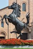 MARANELLO, MODENA, ITALY, YEAR 2017 - Ferriari horse monument in the city. Ferriari horse monument in the city Royalty Free Stock Image