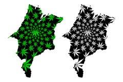 Maranhao region Brazylia, Tworzący federację stan, Federative republika Brazylia mapa jest projektującym marihuana liścia czernią ilustracja wektor