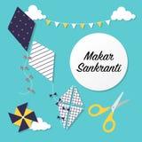 Marar sankranti celebration card with kites Stock Images