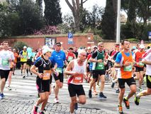 Mararathon van Rome, Maart 2014, 11de km stock foto's