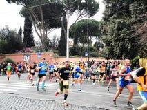 Mararathonen av Rome, mars 2014, 11 th km Fotografering för Bildbyråer