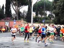 Mararathonen av Rome, mars 2014, 11 th km Royaltyfria Foton