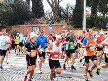 Mararathonen av Rome, mars 2014, 11 th km Arkivfoton
