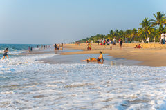 Marari Beach - Mararikulam, Kerala. MARARIKULAM, INDIA - DECEMBER 29: Marari Beach on December 29, 2015 in Mararikulam, India. It is considered to be the most Stock Image
