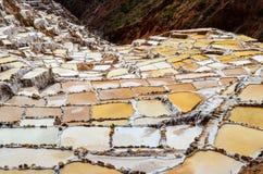MARAS, CUSCO REGION, PERU- JUNE 6, 2013: Salt mines of Maras- Thousands of uneven square-shaped ponds dot the hillside slopes Stock Images