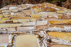 MARAS, CUSCO REGION, PERU- JUNE 6, 2013: Salt mines of Maras- Thousands of uneven square-shaped ponds dot the hillside slopes Stock Image