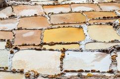 MARAS CUSCO-REGION, PERU JUNI 6, 2013: Detaljerad sikt över de salta pannorna av Maras Arkivbild