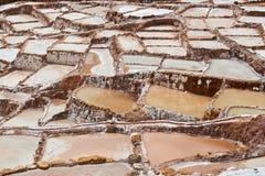 Maras del sale di Brown nel Perù Fotografia Stock Libera da Diritti