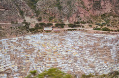 MARAS, REGIÃO DE CUSCO, PERU 6 DE JUNHO DE 2013: As minas de sal de milhares de Maras- de lagoas quadrado-dadas forma desiguais p imagem de stock royalty free
