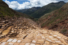 Maras Salt Mines near the village of Maras, Sacred Valley, Peru. View of the Maras Salt Mines near the village of Maras, Sacred Valley, Peru Royalty Free Stock Images