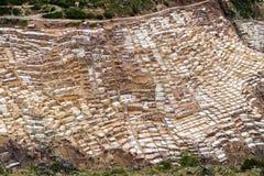 Maras Salt Mines near the village of Maras, Sacred Valley, Peru. View of the Maras Salt Mines near the village of Maras, Sacred Valley, Peru Stock Image