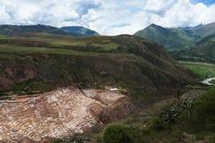 Maras Salt Mines near the village of Maras, Sacred Valley, Peru. View of the Maras Salt Mines near the village of Maras, Sacred Valley, Peru Stock Photo
