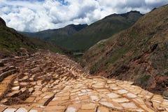 Maras Salt Mines near the village of Maras, Sacred Valley, Peru. View of the Maras Salt Mines near the village of Maras, Sacred Valley, Peru Royalty Free Stock Image