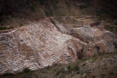 The maras salt mines royalty free stock photo