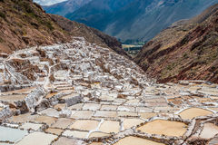 Maras salt mines peruvian Andes  Cuzco Peru Royalty Free Stock Images
