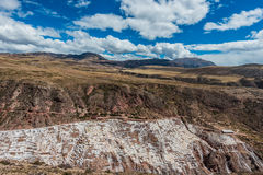 Maras salt mines peruvian Andes  Cuzco Peru Royalty Free Stock Photos