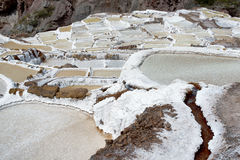 The Maras salt ponds located at the Peru`s Sacred Valley Royalty Free Stock Images