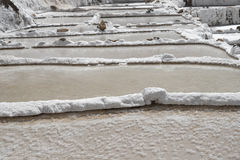 The Maras salt ponds located at the Peru`s Sacred Valley Royalty Free Stock Photos