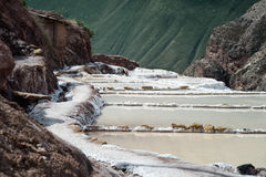The Maras salt ponds located at the Peru`s Sacred Valley Stock Images