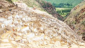 Maras salt ponds located at the Urubamba, Peru royalty free stock photo