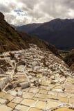 Maras solankowych kopalni peruvian Andes Cuzco Peru Obrazy Royalty Free