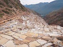 Maras zoute vijvers Heilige vallei Peru stock afbeeldingen