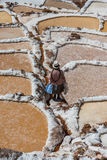Maraszoutmijnen de Peruviaanse Andes Cuzco Peru Stock Afbeelding