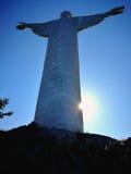 Maratea - statue du rédempteur le Christ dans le contre-jour Images stock