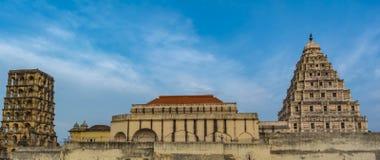 Marathapaleis en de Klokketoren in Thanjavur stock afbeelding