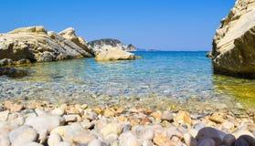 Marathias海滩,扎金索斯州海岛,希腊 免版税库存照片