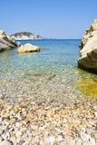 Marathias海滩,扎金索斯州海岛,希腊 库存照片