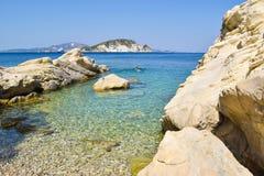 Marathias海滩,扎金索斯州海岛,希腊 免版税库存图片