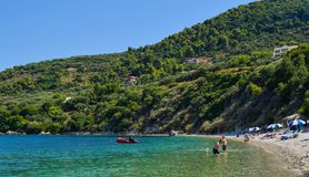 Marathiasstrand, het Eiland van Zakynthos, Griekenland stock foto