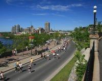 Marathon à travers deux provinces Photos libres de droits