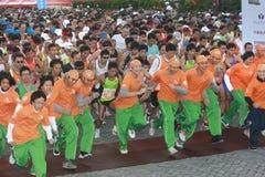 Marathon. People on the street start to run during the Taipei Marathon, Dec. 21,2008 Stock Image