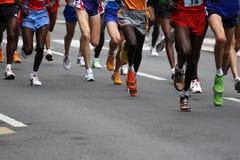 Marathon. Runners on the street Stock Images