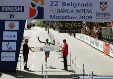 marathon-afwerking-halve Marathon 22nd.Belgrade Stock Foto