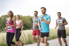 Marathon. Amateur runners on the marathon stock photo