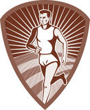 Marathon athlete sports runner. Illustration of a Marathon athlete sports runner with sunburst and set in shield done in retro style Stock Photo