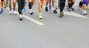 Marathon athletes legs Stock Photos