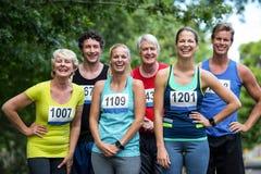 Marathon athletes posing stock photos