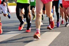 Marathon athletes run Royalty Free Stock Photo