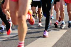 Marathon athletes run Stock Photography