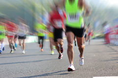 Marathon athletes run Stock Images