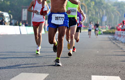 Marathon athletes run Stock Photography