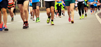 Marathon athletes running Royalty Free Stock Image