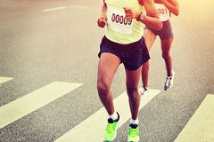 Marathon athletes running Stock Photos