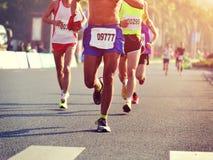 Marathon athletes running stock image